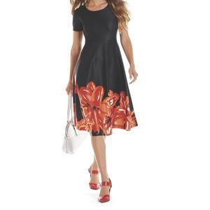 Midnight Velvet Ava Floral Dress Black SIZE 14